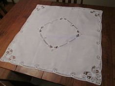 Tablecloth White Linen Lace Card Table Square
