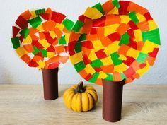 Herbstbäume aus Pappteller – Basteln mit Kindern Autumn trees paper plates – crafts with children Easy Fall Crafts, Fall Crafts For Kids, Thanksgiving Crafts, Toddler Crafts, Preschool Crafts, Kids Crafts, Art For Kids, Diy And Crafts, Arts And Crafts