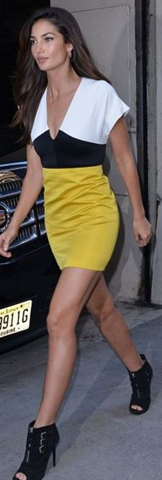 Who made Lily Aldridge's black triple buckle boots and yellow colorblock dress?