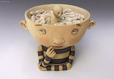 Kina Crow , 'Looking for just the right words' - ceramic  (I love this, a simple saying converted in a beautiful sculpture)
