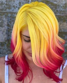 Gelb und rot - bunte haare - Hochzeit Yellow and red - colorful hair - Yellow Hair Color, Ombre Hair Color, Cool Hair Color, Bright Hair Colors, Red Colour, Hair Colours, Brown Ombre Hair, Hair Color For Women, Mermaid Hair
