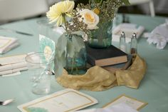 I love the idea of using old books as table decorations