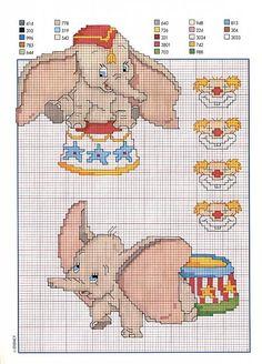 Dumbo al circo schema punto croce