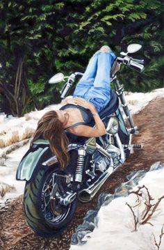 """Open Road"" - Limited Editions - All Artwork - Manon Elder - Motorcycle Art | Fine Art World"