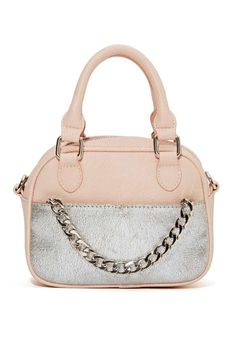 This blush faux leather bag has a foiled silver pocket at front, removable silver chain shoulder strap, and a fully lined interior with zip ...