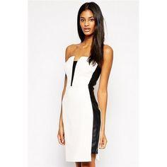 07adc7732e7b Sexy Ladies Strapless Black Side Panel Mini Dress White. Michelle  KeeganOutfitsElegante KjolerTøjHvide Mennesker