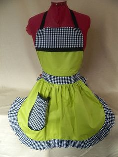 Vintage 50s Style Full Apron / Pinny in Lime Green, Black & White by FabriqueCreations, £19.99