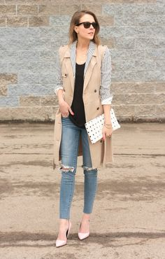Kimberly Smith: sleveless trench with striped blazer and skinny jeans