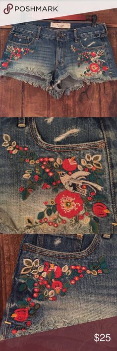 Embroidered Jean shorts Embroidered Jean shorts with flowers and a bird Abercrombie & Fitch Shorts Jean Shorts