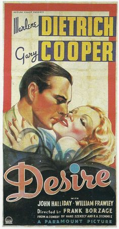 """Vintage movie poster for """"Desire"""", starring Marlene Dietrich"""