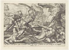 Johannes Wierix   Leger van Antiochus Epifanes doodt Israëlieten, Johannes Wierix, Gerard P. Groenning, Gerard de Jode, 1579   Israëlieten die het gebod van Antiochus Epifanes hedden genegeerd worden op sabbat aangevallen en afgeslacht - mannen, vrouwen en kinderen - door het leger van de koning. Onder de voorstelling een verwijzing in het Latijn naar de Bijbeltekst in 1 Makk. 2.