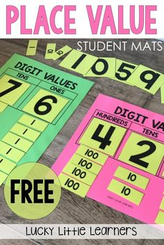 Grab this free set of student place value mats. They are available in both 2-digit and 3-digit numbers. These mats are a great, hands on way of teaching students about value of a digit as well as expanded form.