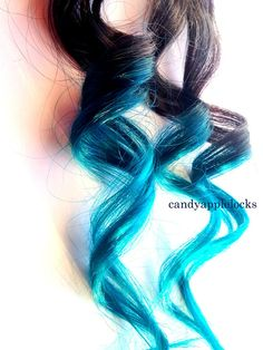 Hair Extensions Turquoise Ombre Clip In Human by CandyAppleLocks, $20.00