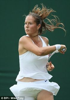 Daria Kasatkina found the lightweight skirt and vest top was lifting up when she tried to play Womens Tennis Skirts, Tennis Outfits, Tennis Dress, Tennis Clothes, Female Volleyball Players, Tennis Players Female, Daria Kasatkina, Cheerleading Photos, Tennis Pictures