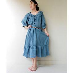 Custom Made Simply Blue Soft Cotton Sweet Maxi Boho by siam2u