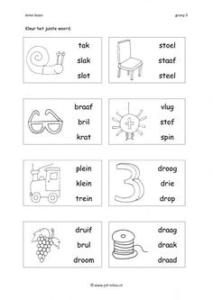 Dit werkblad en nog veel meer in de categorie leren lezen kun je downloaden op de website van Juf Milou. Grade R Worksheets, School Worksheets, English Vocabulary Words, English Phrases, Preschool Learning Activities, Kindergarten Lessons, Learning Numbers, Learning Letters, Learn Dutch