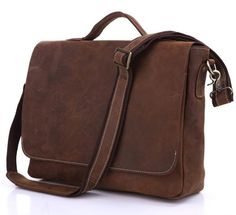 Simple and attractive briefcase messenger bag design with classic style overlaying leather flap. Large internal compartment, couldn't be a more soft environment hospitable for all your electronic gadgets. Handmade from top-quality oil-pull leather, industrial strength thread and brass plated hardware. A fantastic lifetime investment.