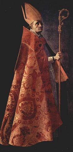 Francisco de Zurbarán. Hl. Ambrosius. 1626-1627, Öl auf Leinwand, 205 × 98 cm. Sevilla, Museo Provincial de Bellas Artes. Urspr. für den Konvent San Pablo in Sevilla, Auftraggeber: Prior Diego de Bordas. Spanien. Barock. KO 05165