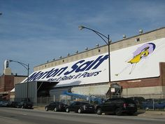 "GOOSE ISLAND: The Morton Salt company was founded in Chicago in 1848, and while it's now owned by the German firm K+S Group, its distribution facility at 1357 N. Elston still receives salt shipments by barge. The white shed with the company name written on it in dark blue letters and the iconic ""umbrella girl"" logo is a Chicago landmark, visible from the Kennedy expressway as well as from Elston. Random fact: the company's founder was the son of J. Ster. Photo by ZOL87."