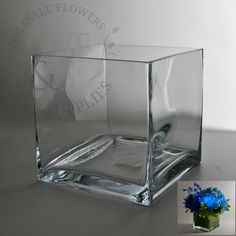 """6"""" Square Glass Cube Vase, discount, wholesale vases and containers - Wholesale Flowers and Supplies"""