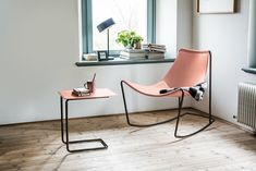 Rocking tanned leather chair APELLE   Rocking chair - Midj