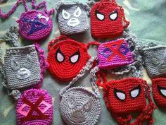 morrales tejidos a mano lucha libre superhéroes spiderman
