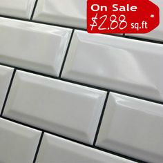 Discount Glass Tile Store - Beveled Subway TIle - 3x6 White, $2.88  Gloss (http://www.discountglasstilestore.com/beveled-subway-tile-3x6-white/) 130,42,31,18,13 235x13.5 = 25 sq ft
