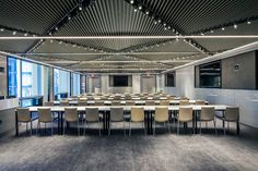 Conde Nast at One World Trade Center Baffle Ceiling, Open Ceiling, Ceiling Panels, One World Trade Center, Trade Centre, Bunker Home, Home Studio Setup, Torsion Spring, Wood Grill