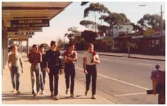 Larry Jenkins 'Chad, Jono and Mig, Twig, Beatie and Whitey walking down the street at Blackburn South shops' 1975 Dr Marcus, Australian Vintage, The 'burbs, Victoria Australia, Melbourne Australia, Present Day, Pose Reference, 1970s, Culture