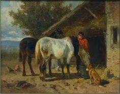 Anton Mauve Zaandam 1838- 1888 Arnhem Olie op paneel 12 x 16 cm, € 3200,-. Anton Mauve was naast Josef Isaëls (1824-1911), Albert Neuhuys (1844-1914) en Hendrik Kever (1854-1922) een van de bekendste schilders van de Larense School. Zijn naam is onlosmakelijk verbonden met het dorp Laren. Hij schilderde en aquarelleerde landschappen, veelal met schapen of ander vee gestoffeerd, ook heeft hij wel geëtst.