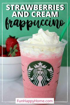 Strawberries and Cream Frappuccino {Starbucks Copycat Recipe} - Fun Happy Home Strawberries And Cream Frappuccino Recipe, Starbucks Strawberry Frappuccino, Homemade Frappuccino, Starbucks Recipes, Starbucks Drinks, Starbucks Hacks, Smoothies, Copycat Recipes, Fondue Recipes