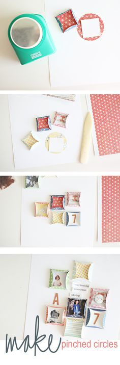 Tutorial | Pinched Circles  Try this for embellishments / scrapbook
