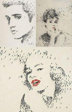 esto es una obra de #arte donde se reflejan las caras de varios artistas famosos @pintohue