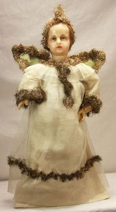 Antique German Poured Wax Angel Doll C1880 | eBay