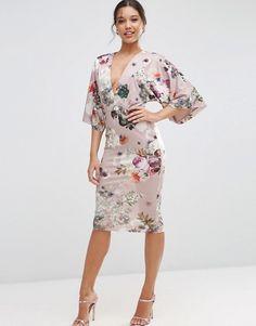 ASOS   Vestido de tubo de estilo kimono con estampado floral en visón de ASOS