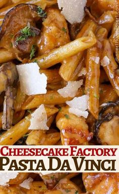 The perfect Cheesecake Factory Pasta Da Vinci Copycat! with creamy mushroom madeira sauce. The perfect Cheesecake Factory Pasta Da Vinci Copycat! with creamy mushroom madeira sauce. Louisiana Chicken Pasta, Cheesecake Factory Copycat, Chicken Madeira Cheesecake Factory, Cheescake Factory Menu, Pasta Recipes, Chicken Recipes, Cooking Recipes, Healthy Dessert Recipes, Healthy Baking