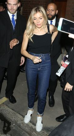 Sienna Miller in tight vest top after West End performance | Daily Mail Online