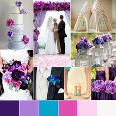 Wedding Color Palette Pink Purple Blue for Spring and Summer classic bright plum lavender blush navy royal teal white Ivory cream turquoise