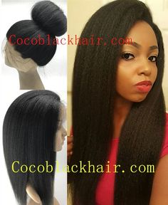 Mona-Brazilian virgin Italian yaki full lace wig This is classic hair style for African American absolutely mimic Afrcan American. This is our top seller wig Don't miss it! Every Strand of hair with living Uni-Directional CuticlesTangle free!!! Silk top makes wig just like hairs growing out from your own head!#cocoblackhair Coco Black Hair provide the most natural looking hair and wigs Change yourself today!