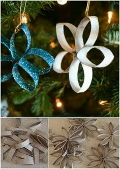 DIY Snowflake Ornaments - use paper towel and toilet paper rolls