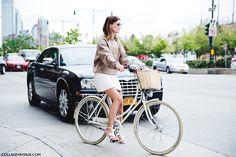 New York Fashion Week Spring Summer Street Style Hanneli Mustaparta  Bike White Skirt Sweatshirt
