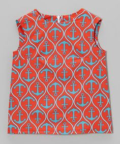 Another great find on #zulily! Coral Aqua Anchors Shift Dress - Toddler & Girls #zulilyfinds