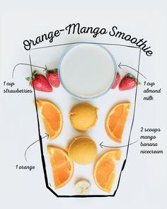 Mango Smoothie Healthy, Mango Orange Smoothie, Raspberry Smoothie, Fruit Smoothies, Smoothie Recipes, Yummy Drinks, Healthy Drinks, Healthy Snacks, Healthy Recipes