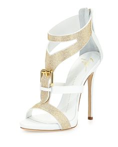 Giuseppe Zanotti Strass Buckle Leather Sandal, Bianco White Gold Super Sexy Heels
