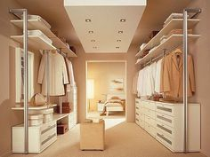 Walk-in closet - smart decision for modern houses. Tips on setting up a walk in closet: lighting, color palette, mirrors, decor, etc. Ikea Closet Design, Walk In Closet Design, Bedroom Closet Design, Master Bedroom Closet, Closet Designs, Wardrobe Design, Master Bath, Bathroom Closet, Master Bedrooms