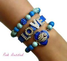 Royal Blue Rhinestone Encrusted Flower and LOVE Howlite Arm Candy Bracelet Set