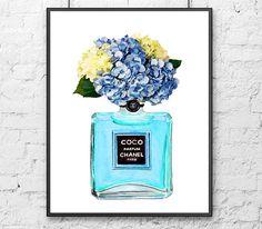 Chanel Poster Blue Perfume Hydrangea Art by ColorfulArtstudio
