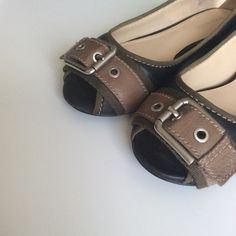 | Nine West Black & Olive Leather Buckle Flats | Peep out these peep toe buckle flats for spring. The deets: worn twice but just a tad too big for my tiny tootsies | tts 6.5 | colors: black shoe w. tan/olive green leather w. silver decorative buckle | gently used w. minor wear on inside of shoe at ball & heel of shoe - not visible when worn | contact  for questions | 🚫trades/pp🚫 Nine West Shoes Flats & Loafers