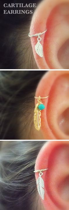 Boho Ear Piercing Ideas Cartilage - Leaf Feather Gold Ring Hoop Earring - www.MyBodiArt.com