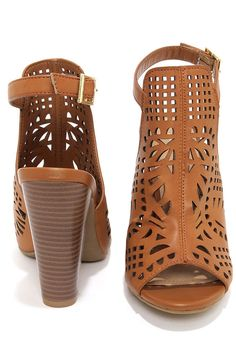 Bamboo Mash 03 Tan Laser Cut High Heel Booties